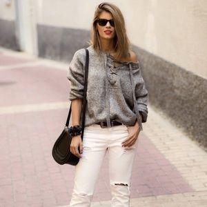 Zara lace up knit sweater
